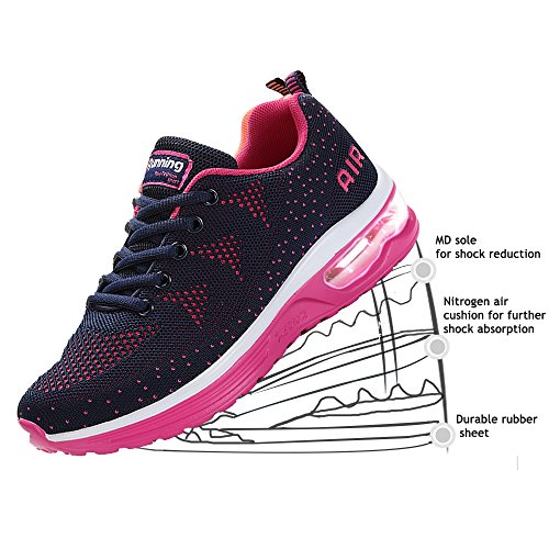 JACKSHIBO Womens Sneakers, Athletic Tennis Running Shoes Air Cushion Comfortable Gym Sneakers