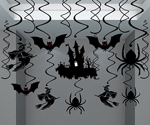 Moon Boat 30Ct Halloween Haunted House Hanging Swirl Yard Party Decorations - Creepy Bats/ Spiders/ Witch Ceiling Supplies -