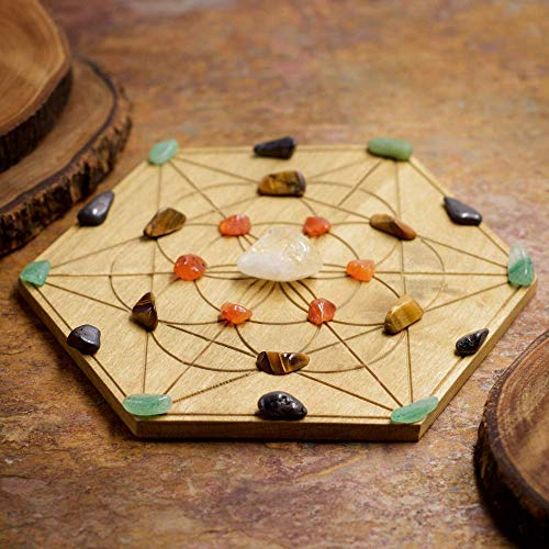 - Attract Abundance Mini Crystal Grid Set with 6 inch Sacred Geometry Grid Board, and Citrine, Carnelian, Tiger Eye, Aventurine, and Lodestone Magnetite