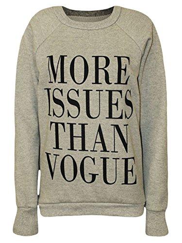 Pour Femmes Dames Imprimé Sweat-shirt À Manches Longues Uk 8-14 Question Plus Gris Que La Mode