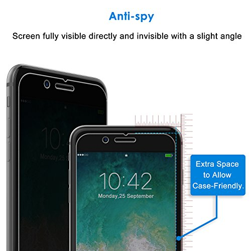 JETech Privacy Screen Protector for Apple iPhone 7 Plus and iPhone 8 Plus 5.5-Inch, Anti-Spy Tempered Glass Film, 2-Pack by JETech (Image #1)