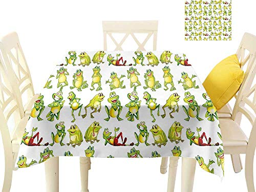 W Machine Sky Wrinkle Resistant Tablecloth Nursery Frogs in Different Positions Funny Happy Cute Expressions Faces Toads Cartoon W54 xL54 Suitable for Buffet Table, Parties, Wedding