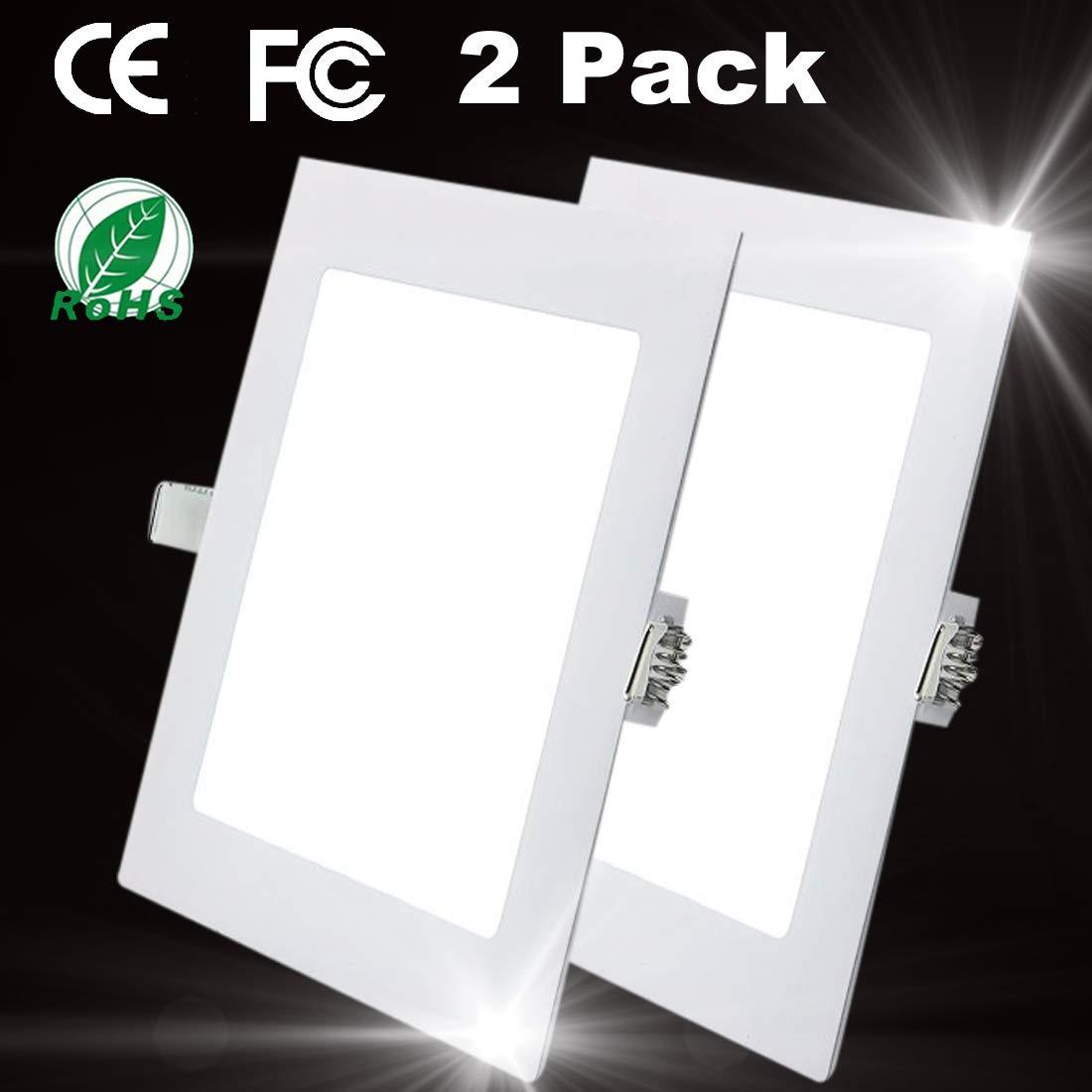 2 Pacchi Plafoniera da Incasso 9W Quadrato a LED a incasso Il Pannello Lampade da parete Lampada Illuminazione Cucina Bagno Corridoio 4000K Neutral White Dimensione del buco 12.5CM