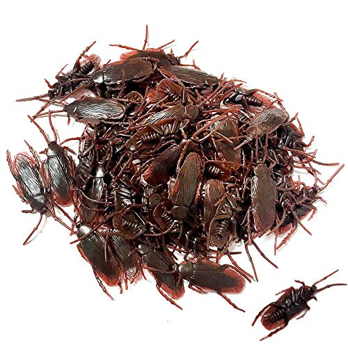 OJYUDD 100PCS Prank Fake Roaches, Favorite Trick Joke Toys Look Real, Scary Insects Realistic Plastic Bugs, Novelty Cockroach for Party, Christmas, Halloween