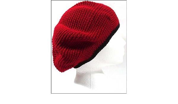 1b1de828 POM London Crochet Tam Beret Hat: Red Black Rim at Amazon Women's Clothing  store: