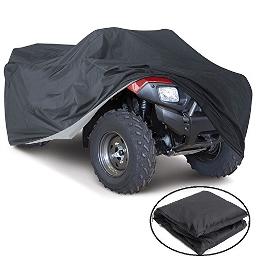 - VVHOOY All Weather Protection Waterproof Heavy Duty ATV Cover Black Universal Size Protects 4 Wheeler From Snow Rain or Sun UV(100x43x47in,XXXL)