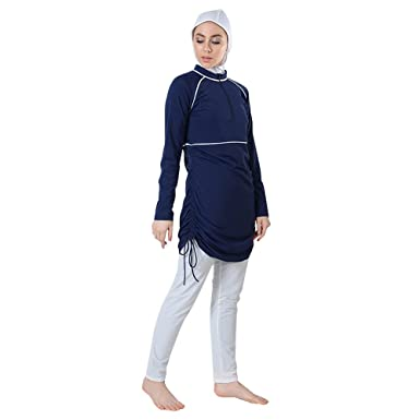 4c0dbad76f093 Navy Side Ruche Swimwear Burkini-Final Sale Item - Multicoloured -:  Amazon.co.uk: Clothing