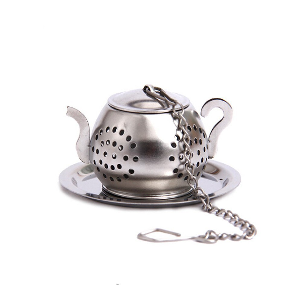 WSERE Teapot Shaped Tea Infuser Stainless Steel Loose Leaf Tea Strainer Filter Steeper with Chains and Drip Trays
