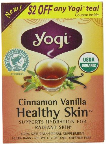 Thé de la peau Yogi Cannelle Vanille santé, 16 sachets de thé
