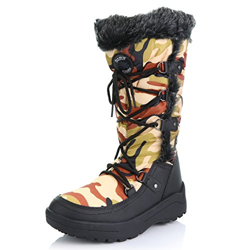 Water Resistant Woman's Camouflage Eskimo Fur Warm Red Boots up Snow Knee DailyShoes Women's High HxRBTw0q