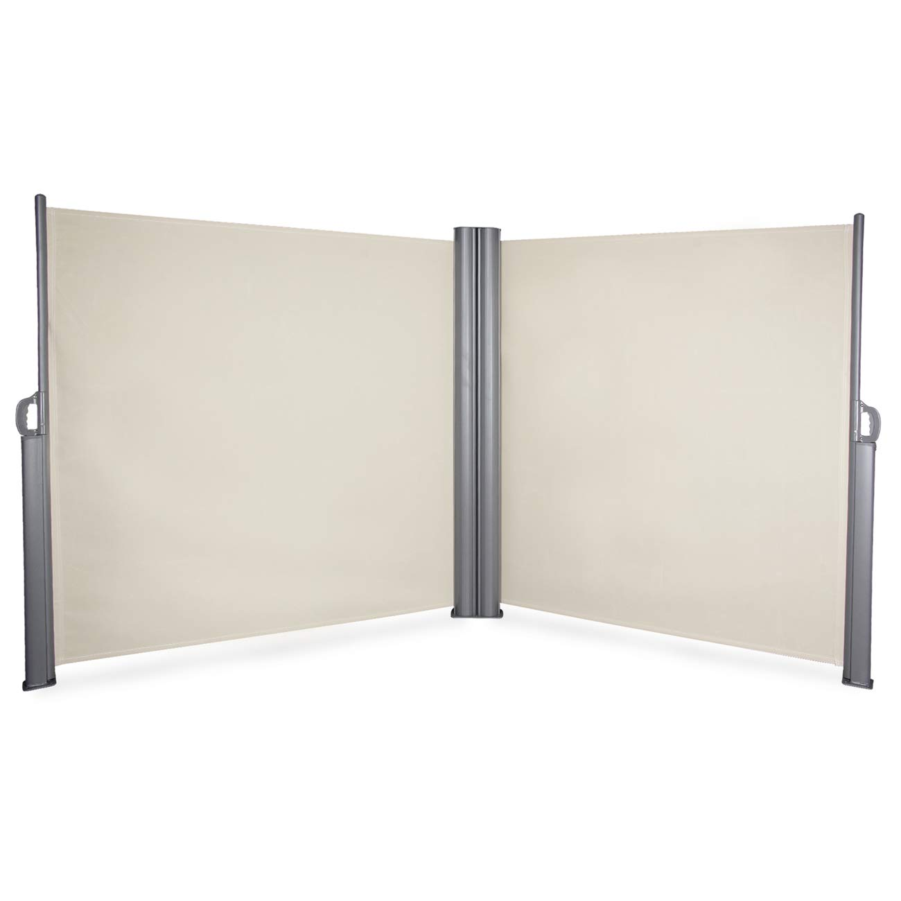 BELLEZE 19.6 x 5.2ft Commercial Double Side Awning Privacy Screen Retractable Divider Garden Terrace Outdoor, Beige