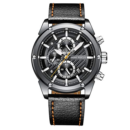 (MINI FOCUS Fashion Watch Men's Sport Waterproof Watch with Leather Strap Calendar Date Watches Business Quartz Wrist Watch for Men (Silver) )