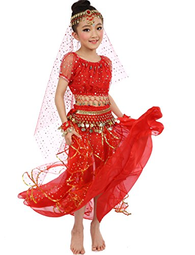 Astage Big Girls` Belly Dance Carnival Dancing Dress Red S-M (Red Belly Dancing Costume)