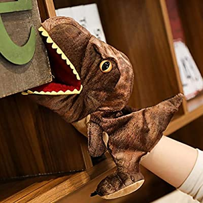 Haluoo Funny Novelty Dinosaur Hand Puppets Fun Plush Openable Mouth Dinosaur Parent-Child Interactive Toy Role Play Toy Animal Gloves Puppets for Kids Toddlers Boysgirls Adult (Brown): Sports & Outdoors