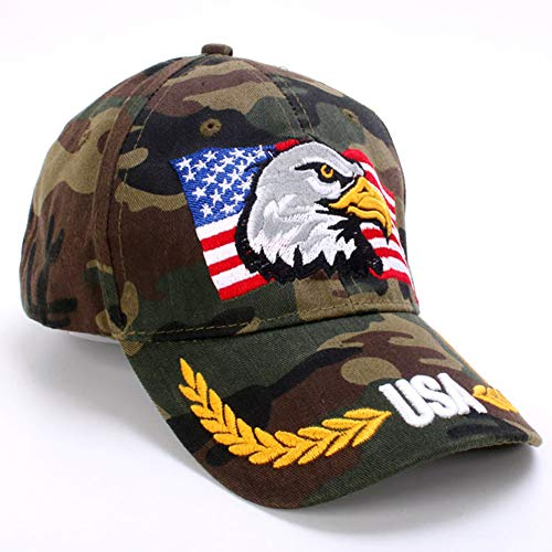 - ROWILUX American Flag USA Eagle Baseball Hat Cap for Men Women Adjustable 3D Embroidered,Camo
