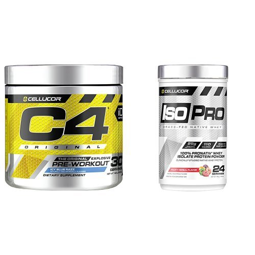 C4 Original Pre Workout Powder, Blue Raspberry, 30 Servings + IsoPro 100% Grass Fed Native Whey Protein Isolate Powder, Fruity Cereal Flavor, 24 Servings (Cellucor Whey Best Flavor)