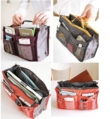 Women Travel Insert Handbag Organiser Purse Large Liner Organizer Tidy Bag (Hot pink)