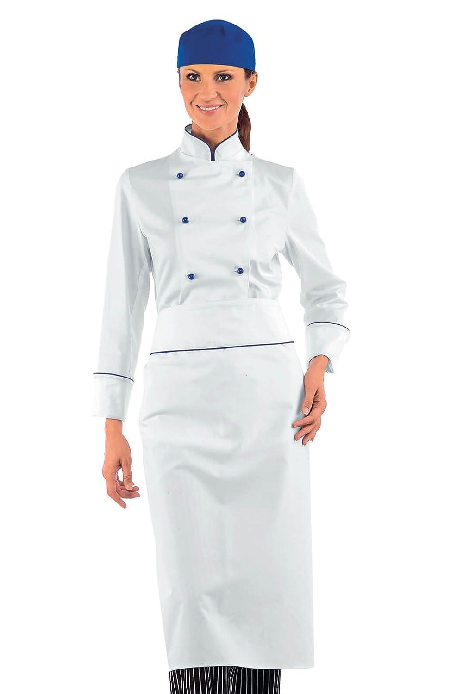 Veste blanche de cuisine Femme avec liseré Bleu 100% Coton ISACCO wz-57506