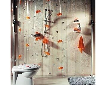 Rideau de douche poisson rouge (transparent 180 x 200 cm): Amazon.fr ...