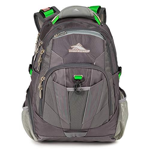 High Sierra XBT-TSA Laptop Backpack, Charcoal/Silver/Kelly, One Size