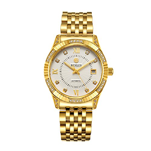 BINLUN-18K-Gold-Plated-Watches-for-Men-Waterproof-Luxury-Dress-Wrist-Watch-with-Date