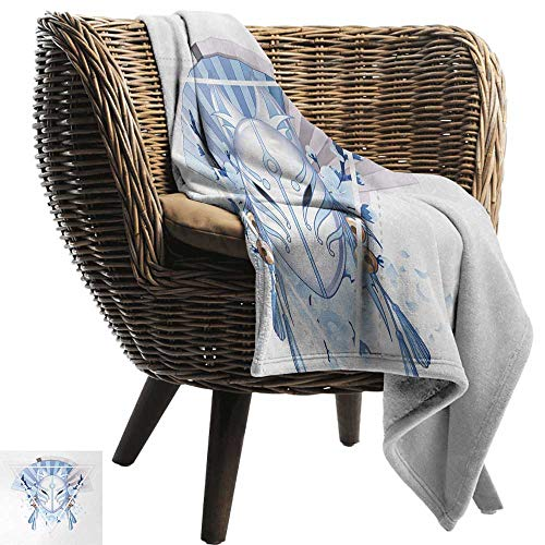 AndyTours Fuzzy Blanket,Kabuki Mask,Fox Mask Kitsune Japan Culture Theme with Triangle Sakura Flowers,Pale Blue White Beige,Luxury Flannel Throw Blankets for Bed(Lightweight,Super Soft) 70