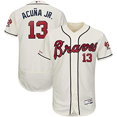 detailed look 14079 5e72f #13 Ronald Acuna Jr Atlanta Braves 2019 Alternate Collection Flex Base  Player Jersey – Cream