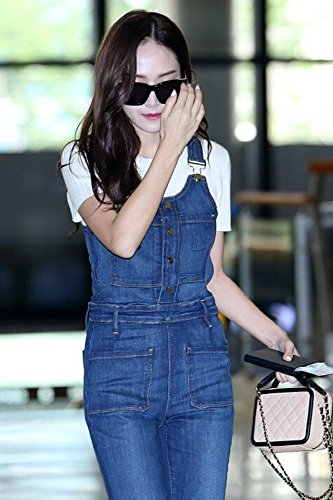 Generic Autumn new Korean Jessica Jung same paragraph white sweater Slim false blue overalls buttoned piece suit for women girl