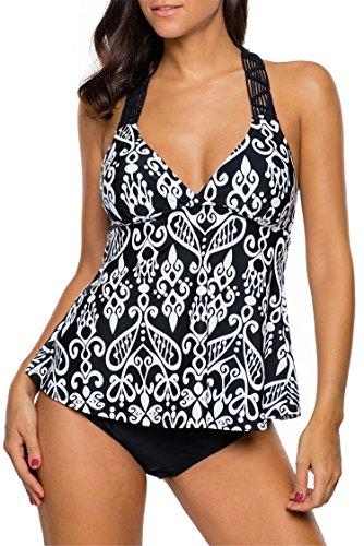 Diukia Women Patchwork Printed Open Back Tankini Top Set 2 Pcs Swimsuit Swimwear XX-Large - Open Back Tankini