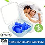 Ear Pugs for Sleeping, Noise Cancelling Sound Blocking Earplugs Reusable Noise Reduction for Musicians Concerts Silicone Blue