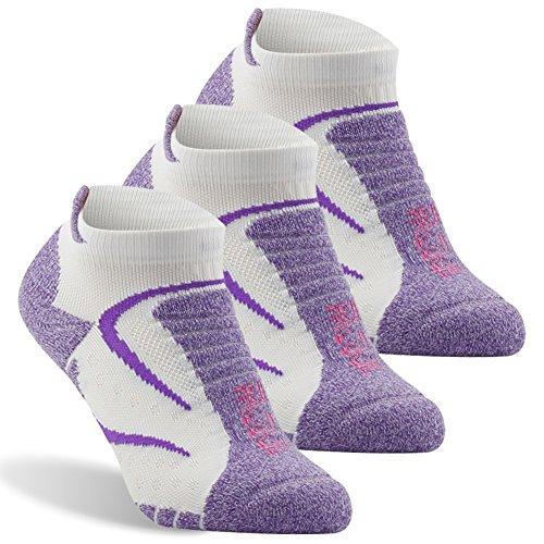 (Bombas Socks For Women, Facool No Show Cushion Athletic Running Socks Best Low Cut Hiking Tennis Socks 3 Pairs Purple&White Large)
