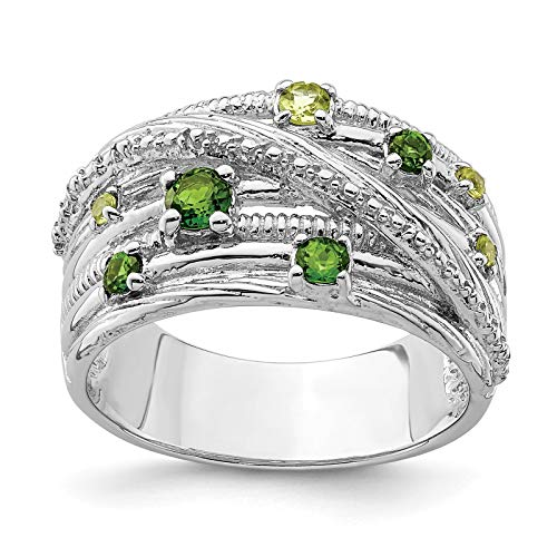 925 Sterling Silver Rhodium-plated Polished & Textured Chrome Diopside & Peridot Ring Band Size 6