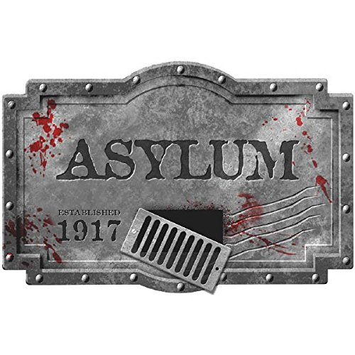 Haunted Asylum Halloween Hanging Sign Decoration, Styrofoam, 14