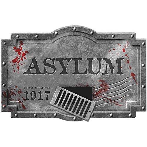 Haunted Asylum Halloween Hanging Sign Decoration, Styrofoam, (Asylum Foam Sign)