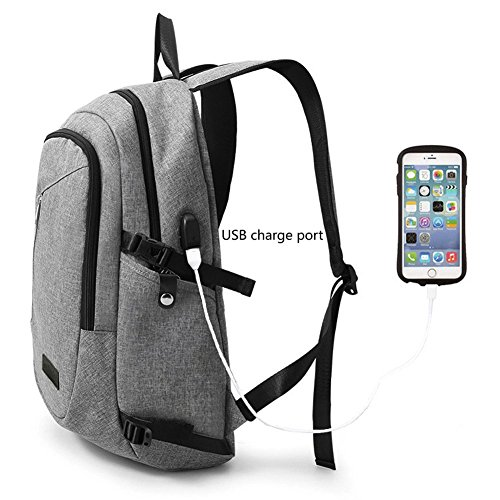 Business Water Resistant Polyester Backpack less than 17-Inch Laptop Backpack Computer College School Backpacks with USB Charging Port Travel Bag for Women Men(Grey) by A-MORE