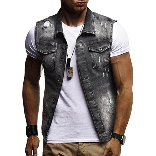 (WUAI Clearance Men's Sleeveless Fashion Lapel Vintage Jeans Vest Motorcycle Jacket Waistcoat(Black,US Size M = Tag)