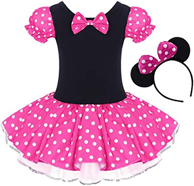 IBTOM CASTLE Toddler Girl Polka Dots Party Fancy Costume Tutu Dress up Dance Leotard Gymnastic Cosplay Cartoon Ear Headb
