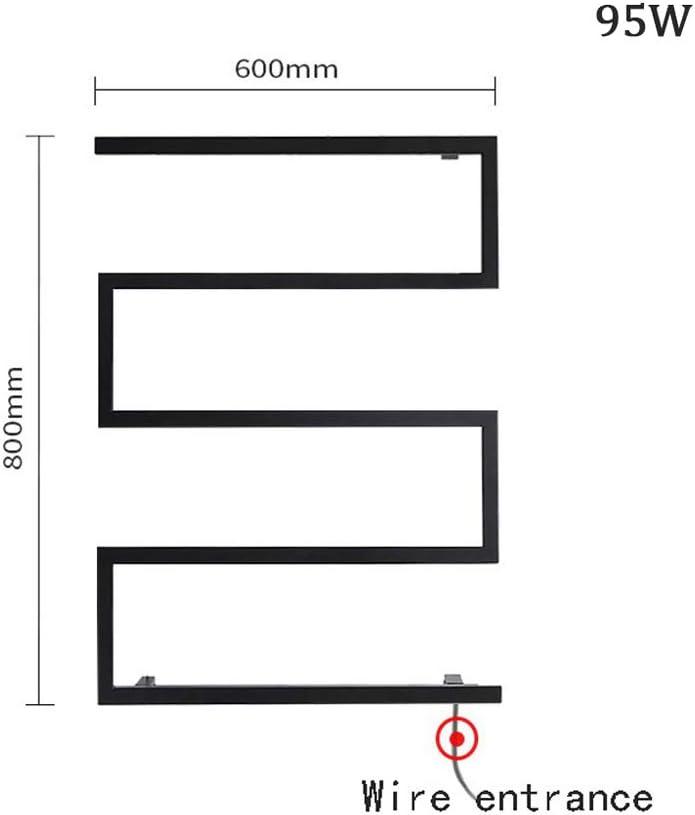 Porte-Serviette Radiateurs Salle de Bain Barres Radiateur Seche Serviette Electrique Chauffage Serviettes WING S/èche-Serviette /Électrique Mural Serviteurs de Douche Noir 600/×800 mm