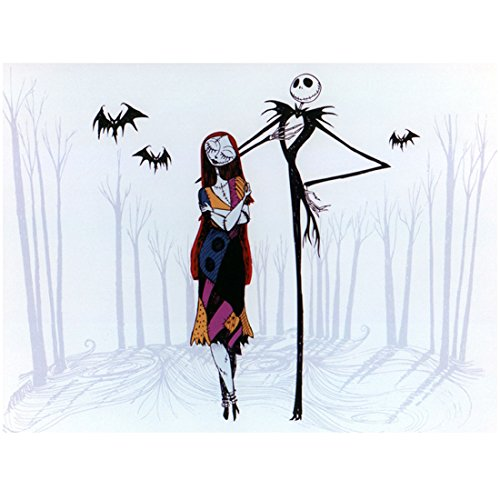 Sally and Gentleman Jack Skellington Smiling Walking in Dead Winter Snow Forest with Bats - Nightmare Before Christmas 8x10 Photograph - Professional Quality - NMBC