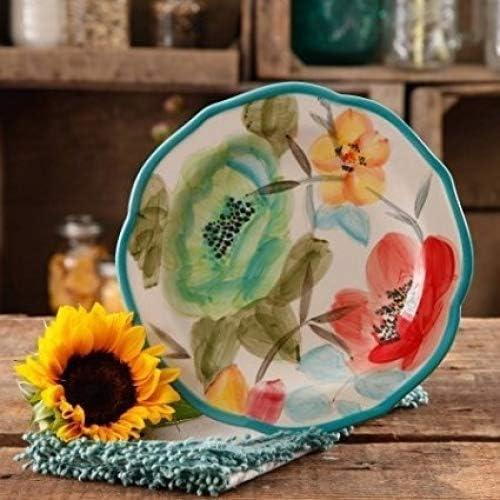 "The Pioneer Woman Vintage Floral Teal 8.5/"" Salad Plate Set Set of 4 Blue"