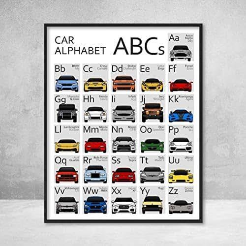 Amazon.com: Car Nursery ABC Alphabet Poster Print Wall Art