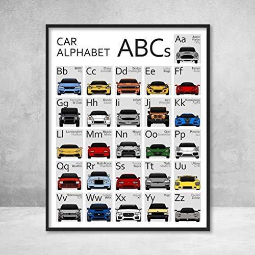 Car Nursery ABC Alphabet Poster Print Wall Art for Babies and Kids 26 Vehicles, Covering A to Z ()