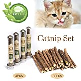 MR-BABULA Cat Catnip Sticks Toys, 100% Natural Silver Vine/Matatabi Dental Treats Molar Chew Toy,For Cat, 30PCS + 4PCS