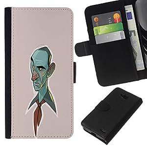All Phone Most Case / Oferta Especial Cáscara Funda de cuero Monedero Cubierta de proteccion Caso / Wallet Case for LG OPTIMUS L90 // Blue Man Drawing Painting Art Portrait