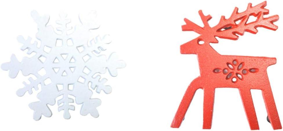 Shapl Salvamanteles de hierro fundido dise/ño vintage Pack de 2 salvamanteles decorativos de copo de nieve blanco y renos para platos calientes encimera de cocina o mesa de comedor