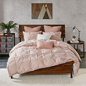 Image of 3 Piece Blush Pink Embroidered Pintuck Pattern Comforter Full Queen Set, Beautiful High-End Luxurious Detailed Square Shape Pinch Pleated Design Bedding, Abstract Soft Colors, Percale Cotton, Unisex