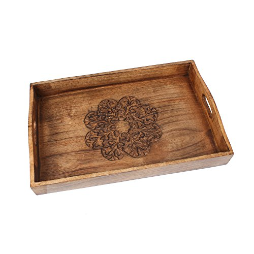 Tasteful Hand Carved Wooden Tray with Handles Serve Ware Kitchen Accessories (18 x 12 x 3.5 inches)