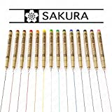 Sakura Pigma Micron - Colour Pigment Fineliners - Set of 14 - 0.5mm