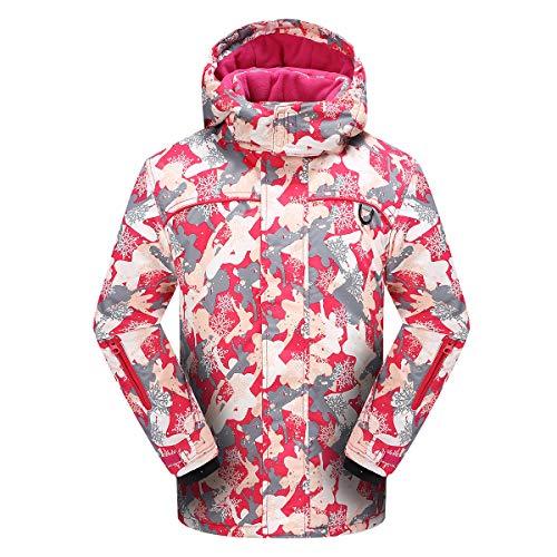 PHIBEE Girls' Sportswear Waterproof Windproof Snowboard Ski Jacket Red 12