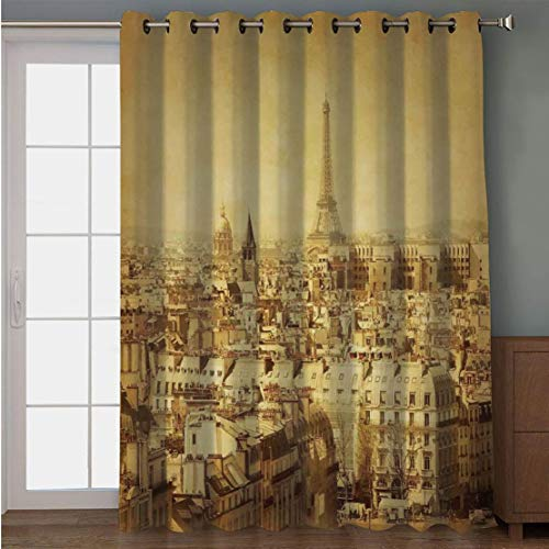 Joy2016 Blackout Curtains for Patio Sliding Door, Extra Wide Draperies for Double Window, Thermal Insulated Energy Efficiency Blackout Curtains for Bedroom Decor, 108 Inch Wide x 96 Inch Length (Digital Photo 8' Album)